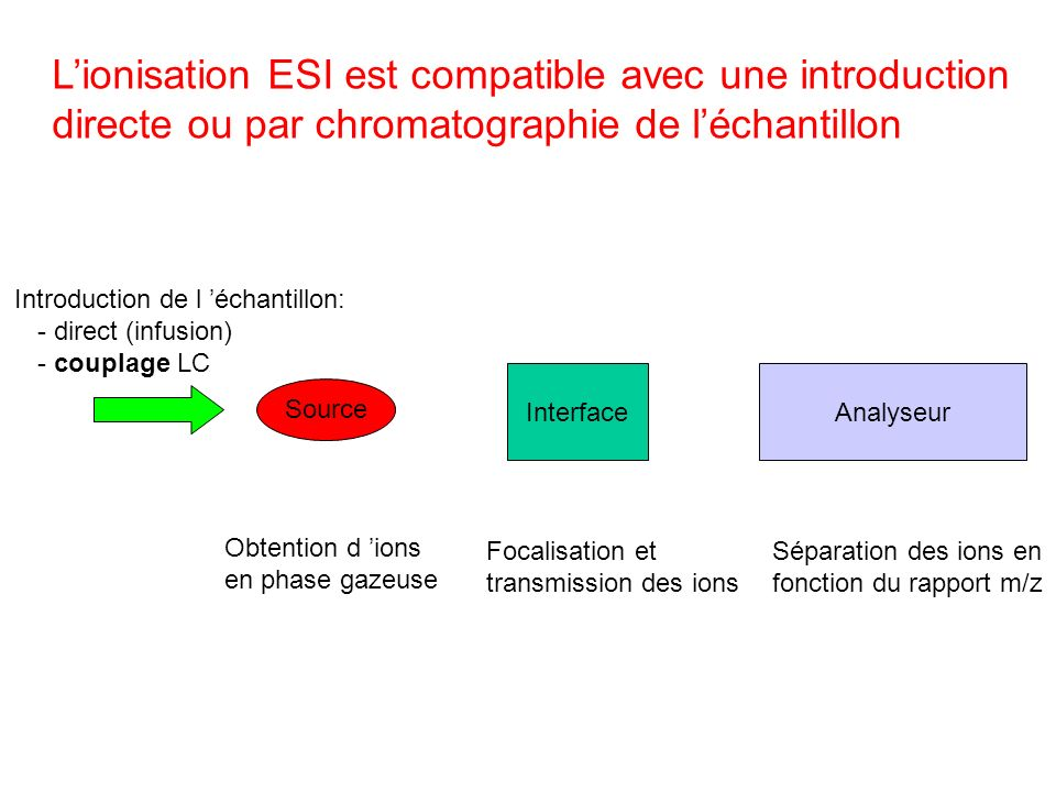 Lionisation ESI est compatible avec une introduction directe ou par chromatographie de léchantillon Source InterfaceAnalyseur Introduction de l échant