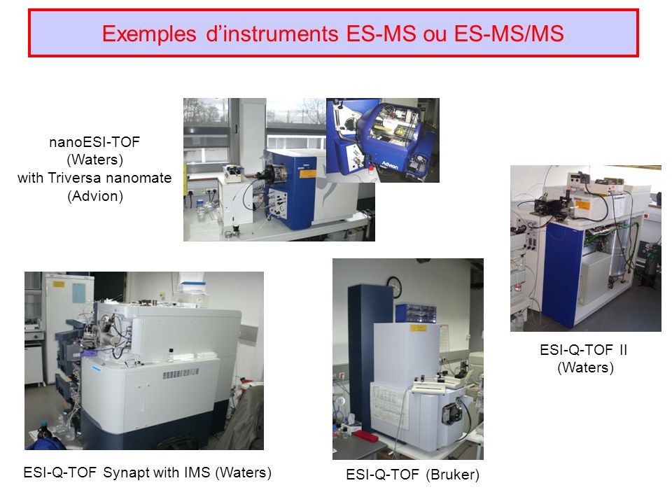 Exemples dinstruments ES-MS ou ES-MS/MS ESI-Q-TOF Synapt with IMS (Waters) nanoESI-TOF (Waters) with Triversa nanomate (Advion) ESI-Q-TOF II (Waters) ESI-Q-TOF (Bruker)