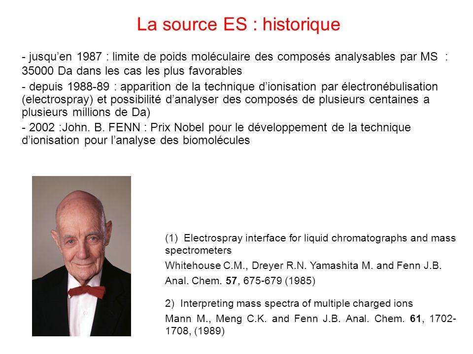 La source ES : historique - jusquen 1987 : limite de poids moléculaire des composés analysables par MS : 35000 Da dans les cas les plus favorables - d