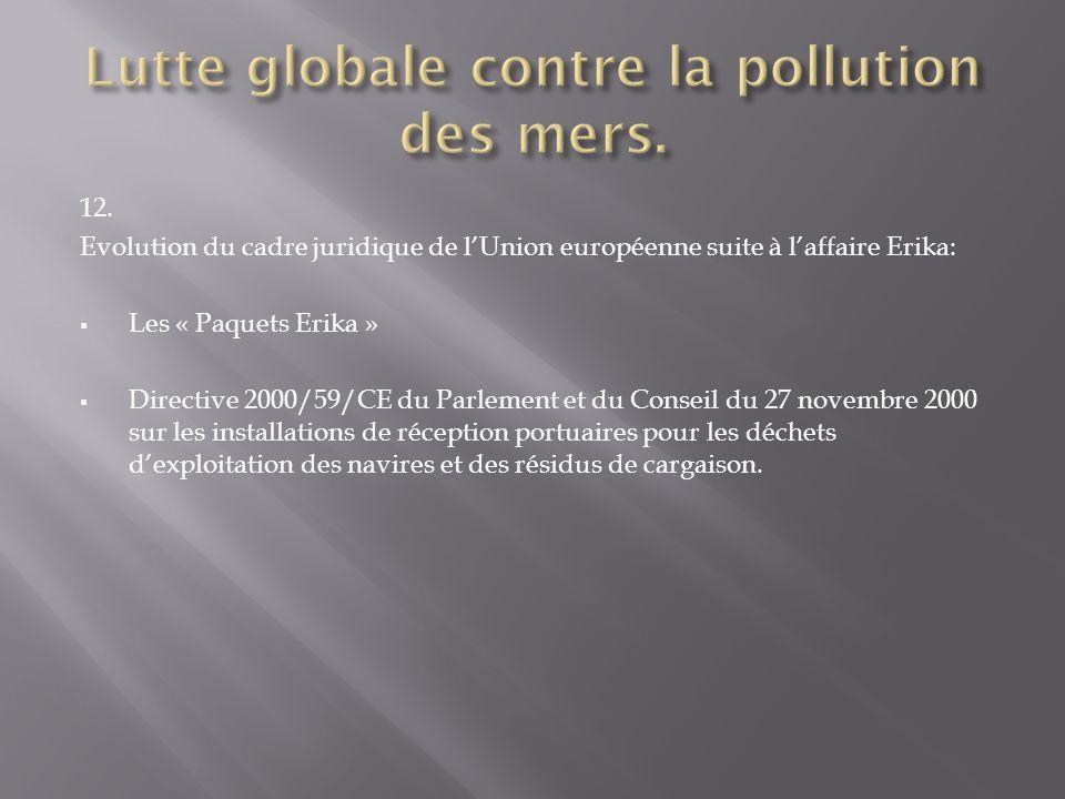 12. Evolution du cadre juridique de lUnion européenne suite à laffaire Erika: Les « Paquets Erika » Directive 2000/59/CE du Parlement et du Conseil du