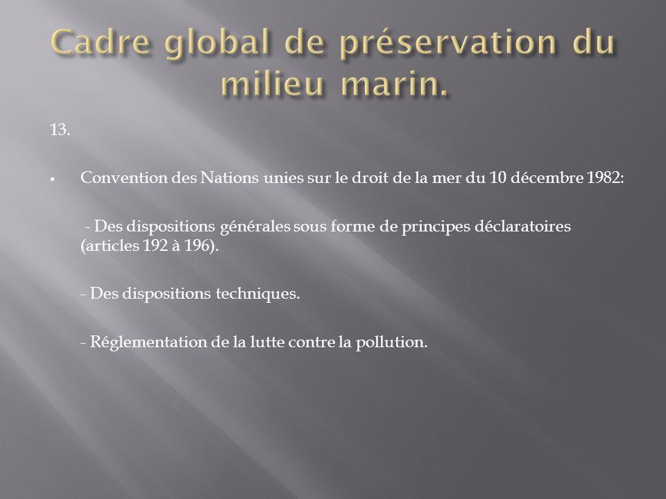 13. Convention des Nations unies sur le droit de la mer du 10 décembre 1982: - Des dispositions générales sous forme de principes déclaratoires (artic