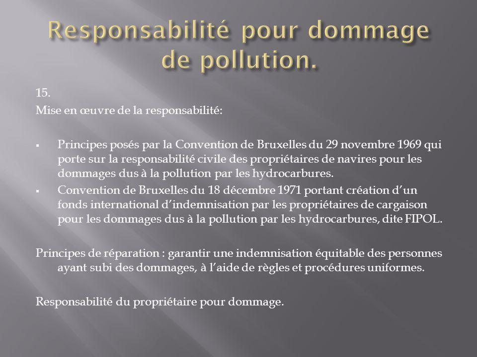 15. Mise en œuvre de la responsabilité: Principes posés par la Convention de Bruxelles du 29 novembre 1969 qui porte sur la responsabilité civile des