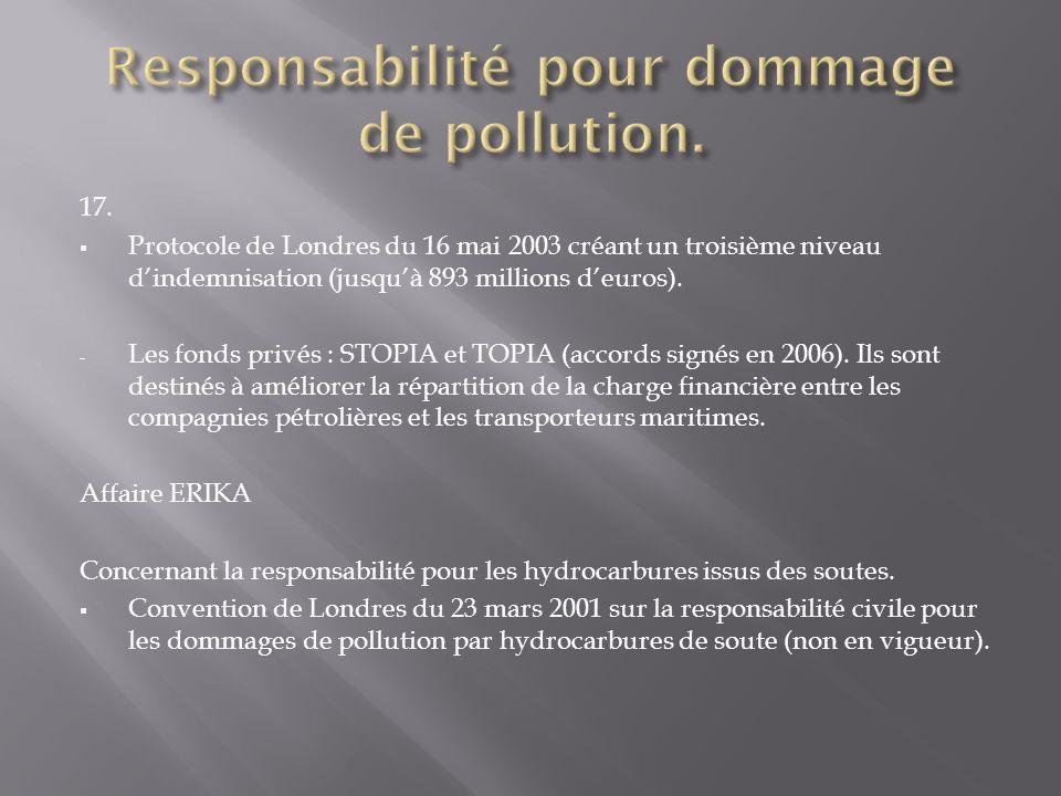 17. Protocole de Londres du 16 mai 2003 créant un troisième niveau dindemnisation (jusquà 893 millions deuros). - Les fonds privés : STOPIA et TOPIA (