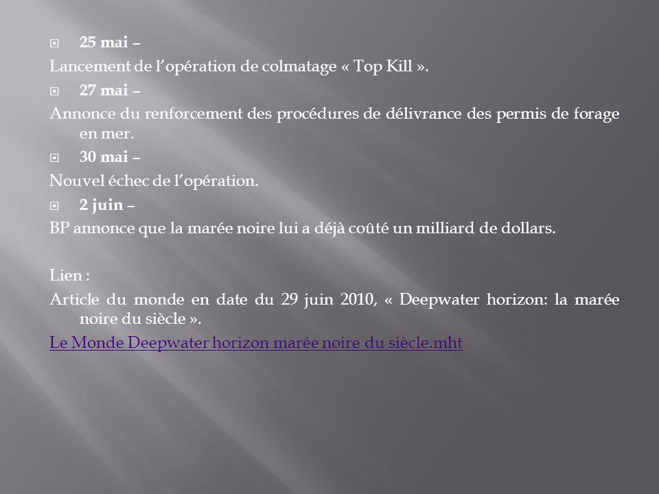 25 mai – Lancement de lopération de colmatage « Top Kill ». 27 mai – Annonce du renforcement des procédures de délivrance des permis de forage en mer.