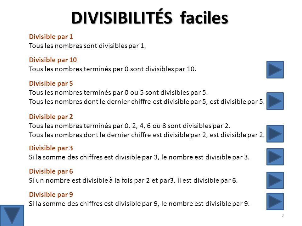 Divisible par 2 Tous les nombres terminés par 0, 2, 4, 6 ou 8 sont divisibles par 2.