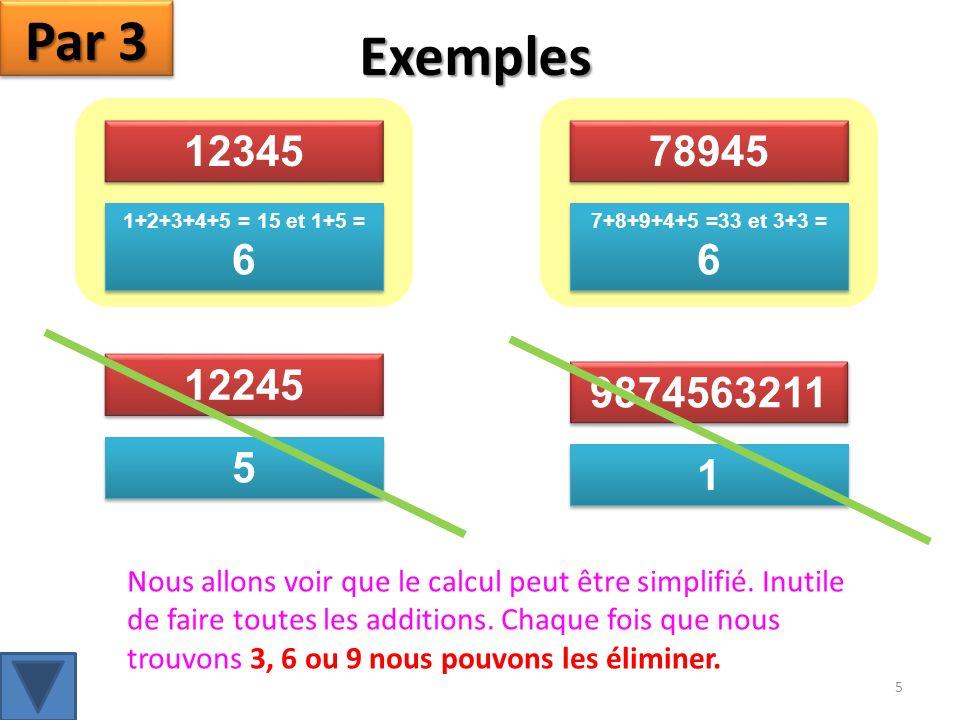 12345 1+2+3+4+5 = 15 et 1+5 = 6 78945 7+8+9+4+5 =33 et 3+3 = 6 12245 5 5 9874563211 1 1 Exemples Nous allons voir que le calcul peut être simplifié.