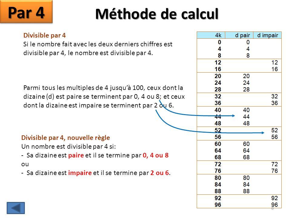 Méthode de calcul Par 4 Divisible par 4 Si le nombre fait avec les deux derniers chiffres est divisible par 4, le nombre est divisible par 4.