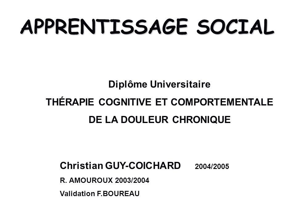APPRENTISSAGE SOCIAL Christian GUY-COICHARD 2004/2005 R. AMOUROUX 2003/2004 Validation F.BOUREAU Diplôme Universitaire THÉRAPIE COGNITIVE ET COMPORTEM