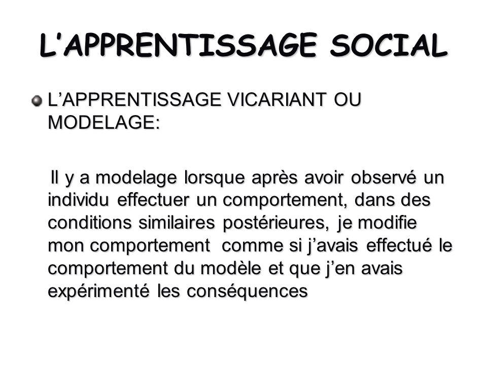 LAPPRENTISSAGE SOCIAL LAPPRENTISSAGE VICARIANT OU MODELAGE: Il y a modelage lorsque après avoir observé un individu effectuer un comportement, dans de