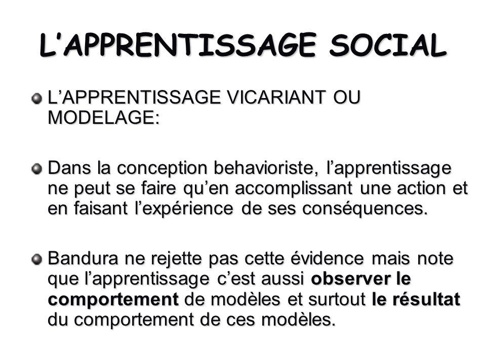 LAPPRENTISSAGE SOCIAL LAPPRENTISSAGE VICARIANT OU MODELAGE: Dans la conception behavioriste, lapprentissage ne peut se faire quen accomplissant une ac