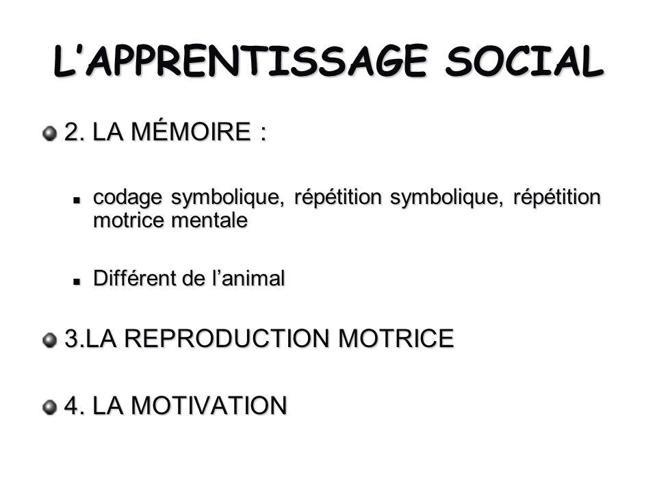 LAPPRENTISSAGE SOCIAL 2. LA MÉMOIRE : codage symbolique, répétition symbolique, répétition motrice mentale codage symbolique, répétition symbolique, r