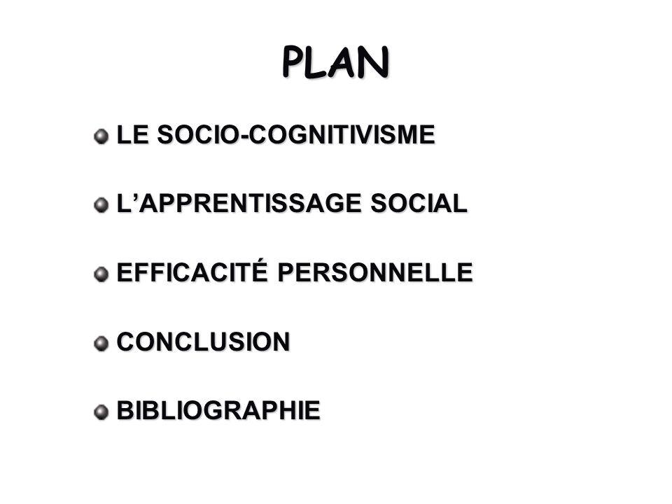PLAN LE SOCIO-COGNITIVISME LAPPRENTISSAGE SOCIAL EFFICACITÉ PERSONNELLE CONCLUSIONBIBLIOGRAPHIE