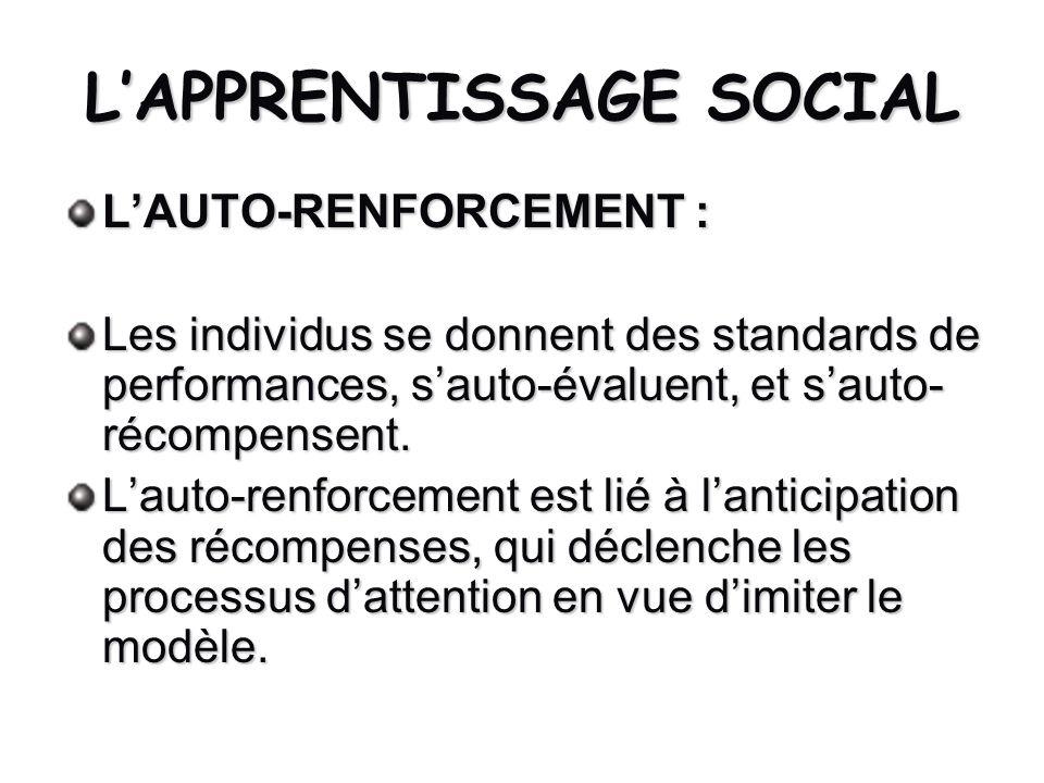 LAPPRENTISSAGE SOCIAL LAUTO-RENFORCEMENT : Les individus se donnent des standards de performances, sauto-évaluent, et sauto- récompensent. Lauto-renfo