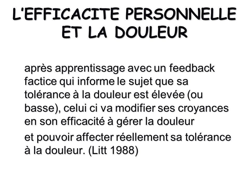 LEFFICACITE PERSONNELLE ET LA DOULEUR après apprentissage avec un feedback factice qui informe le sujet que sa tolérance à la douleur est élevée (ou b