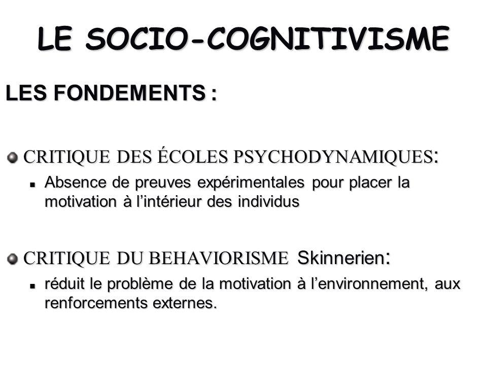 LE SOCIO-COGNITIVISME LES FONDEMENTS : CRITIQUE DES ÉCOLES PSYCHODYNAMIQUES : Absence de preuves expérimentales pour placer la motivation à lintérieur