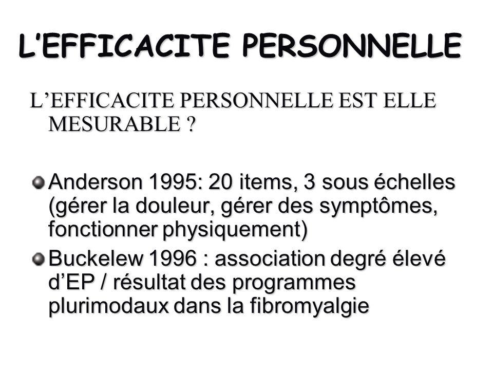 LEFFICACITE PERSONNELLE LEFFICACITE PERSONNELLE EST ELLE MESURABLE ? Anderson 1995: 20 items, 3 sous échelles (gérer la douleur, gérer des symptômes,