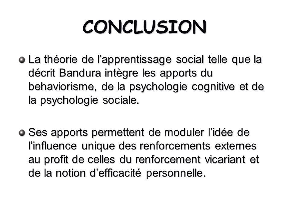 CONCLUSION La théorie de lapprentissage social telle que la décrit Bandura intègre les apports du behaviorisme, de la psychologie cognitive et de la p
