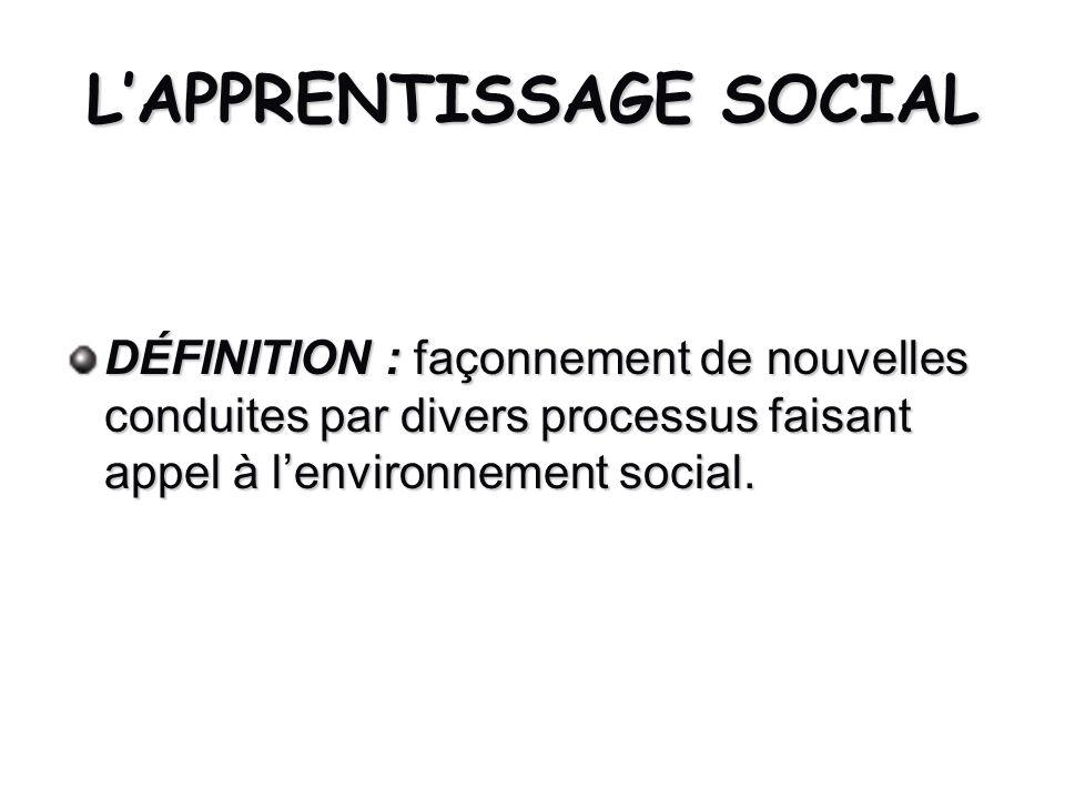 LAPPRENTISSAGE SOCIAL DÉFINITION : façonnement de nouvelles conduites par divers processus faisant appel à lenvironnement social.