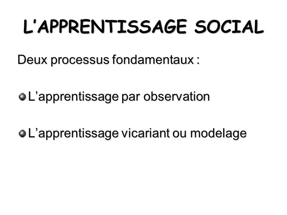 LAPPRENTISSAGE SOCIAL Deux processus fondamentaux : Lapprentissage par observation Lapprentissage vicariant ou modelage