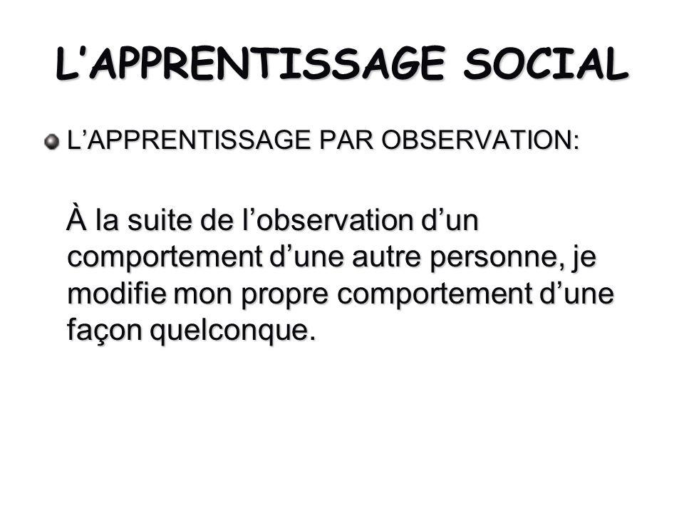 LAPPRENTISSAGE SOCIAL LAPPRENTISSAGE PAR OBSERVATION: À la suite de lobservation dun comportement dune autre personne, je modifie mon propre comportem