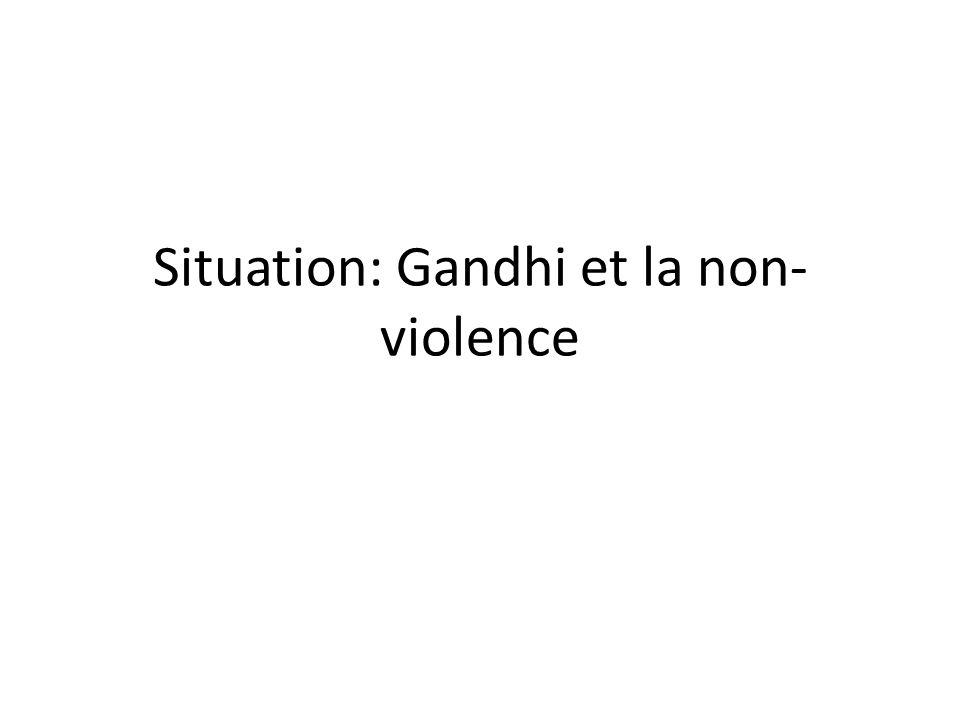 Les élèves complètent le schéma, sauf la partie inférieure: la reconnaissance du rôle de Gandhi