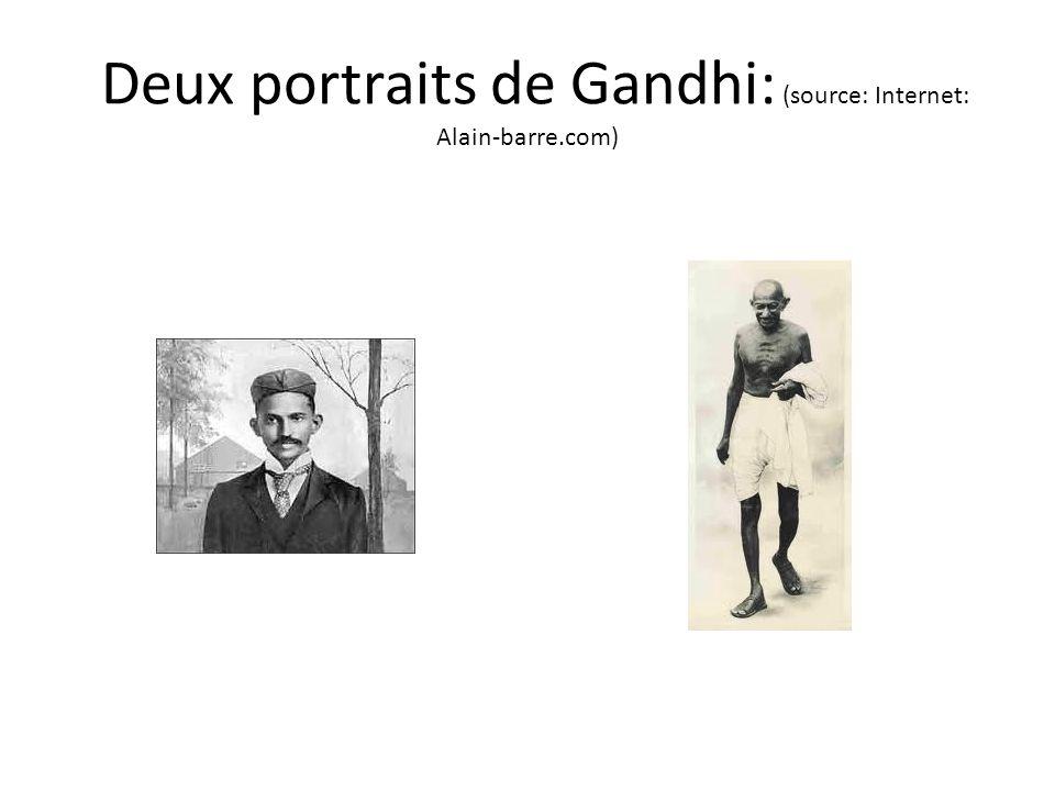 Comparaison des deux portraits: le cheminement dun homme Portrait datant de 1895 Gandhi jeune avocat, voulait ressembler aux Anglais Description par les élèves Portrait des années 1930-1940 Gandhi, le Mahatma, avec un sourire indéfinissable qui ne la pas quitté tout au long de son combat non- violent contre linjustice et pour la liberté Description par les élèves