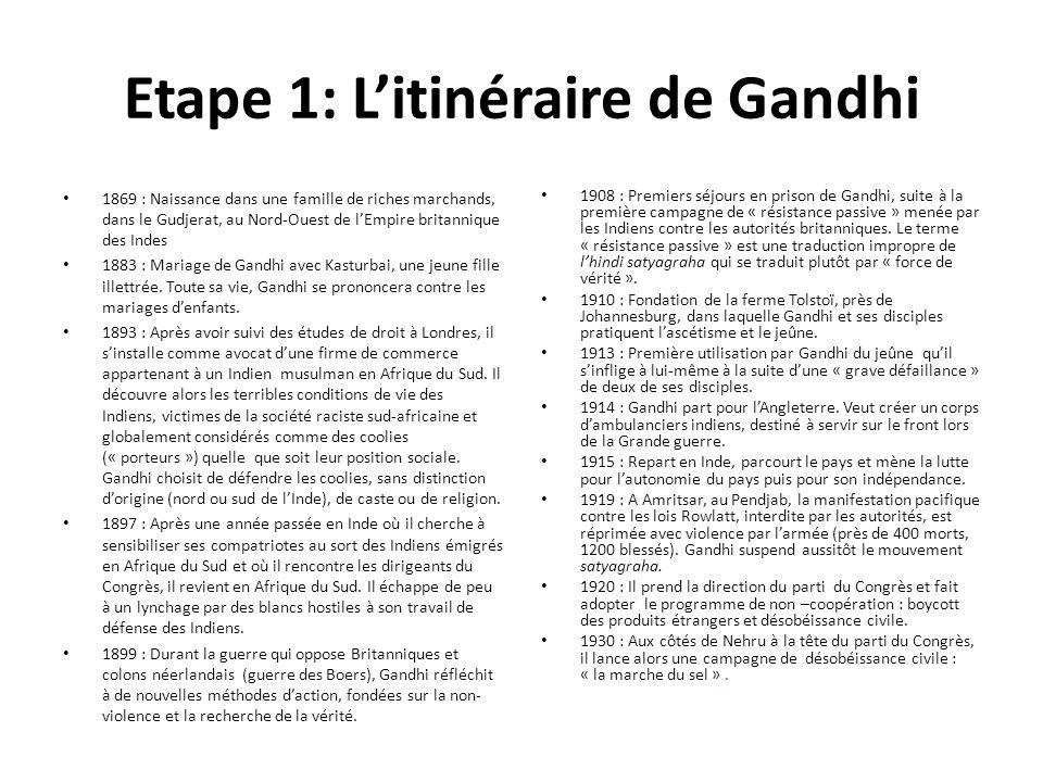 Suite biographie 1931 : Gandhi participe aux négociations avec le gouvernement britannique à Londres : échec.