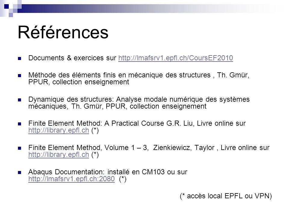 Références Documents & exercices sur http://lmafsrv1.epfl.ch/CoursEF2010http://lmafsrv1.epfl.ch/CoursEF2010 Méthode des éléments finis en mécanique de