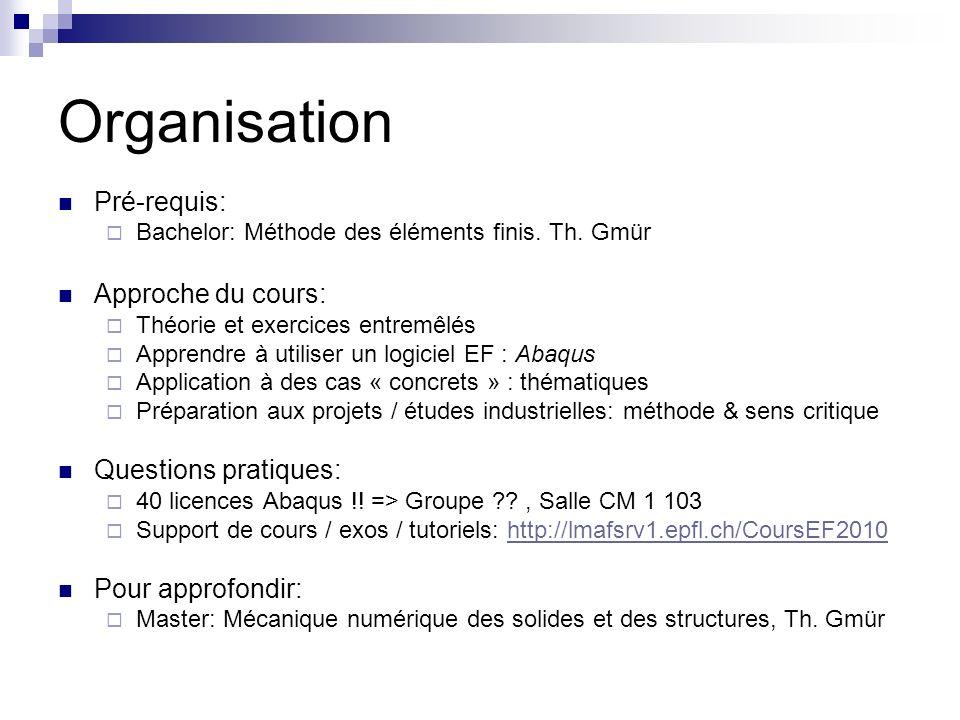 Organisation Pré-requis: Bachelor: Méthode des éléments finis. Th. Gmür Approche du cours: Théorie et exercices entremêlés Apprendre à utiliser un log