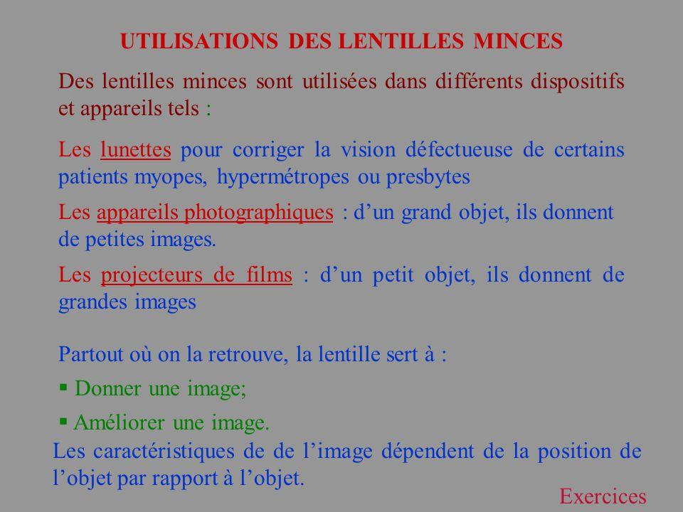 UTILISATIONS DES LENTILLES MINCES Des lentilles minces sont utilisées dans différents dispositifs et appareils tels : Les lunettes pour corriger la vi