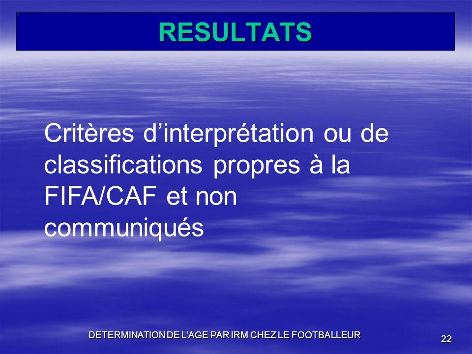 RESULTATS DETERMINATION DE LAGE PAR IRM CHEZ LE FOOTBALLEUR 22 Critères dinterprétation ou de classifications propres à la FIFA/CAF et non communiqués