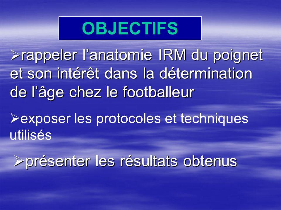 OBJECTIFS rappeler lanatomie IRM du poignet et son intérêt dans la détermination de lâge chez le footballeur rappeler lanatomie IRM du poignet et son