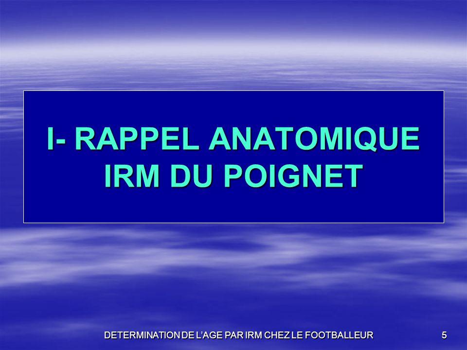 5 I- RAPPEL ANATOMIQUE IRM DU POIGNET