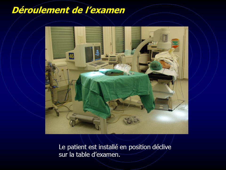 Le patient est installé en position déclive sur la table dexamen. Déroulement de lexamen