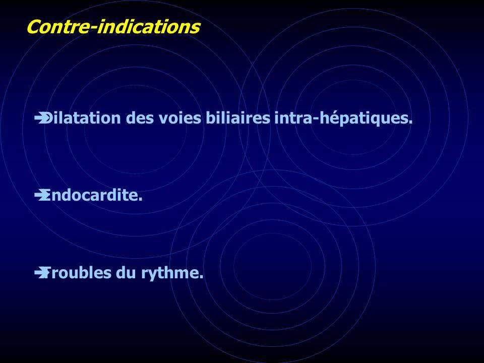 Contre-indications Dilatation des voies biliaires intra-hépatiques. Endocardite. Troubles du rythme.
