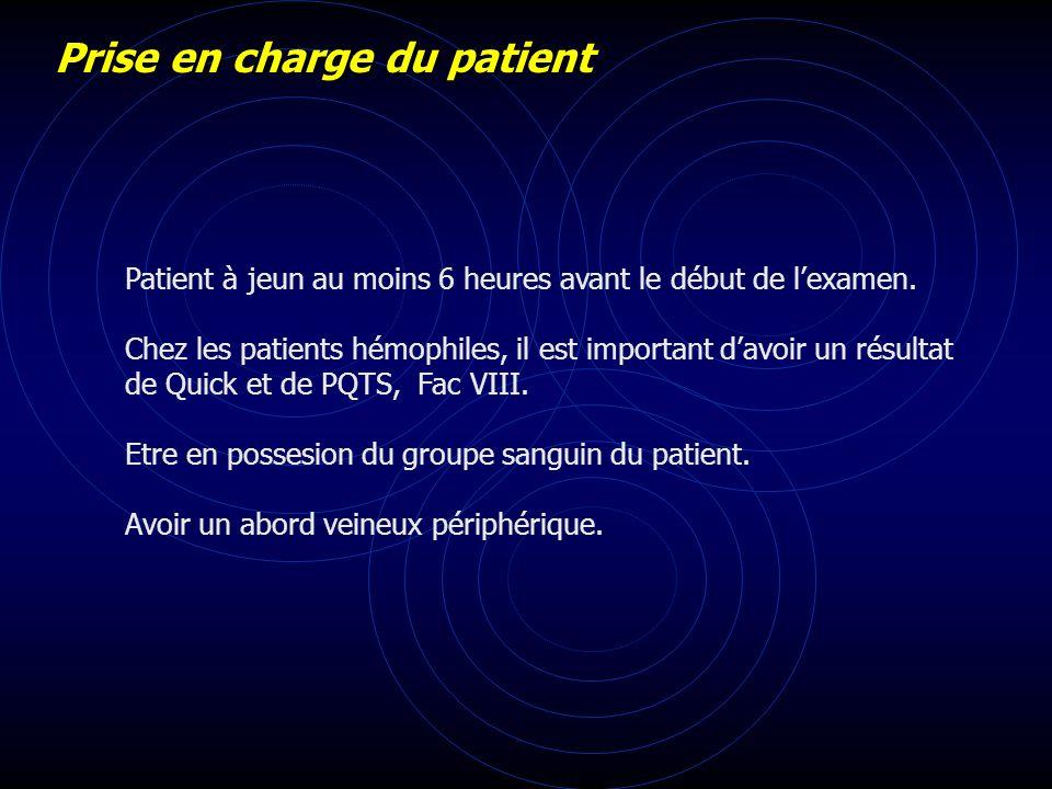 Prise en charge du patient Patient à jeun au moins 6 heures avant le début de lexamen. Chez les patients hémophiles, il est important davoir un résult