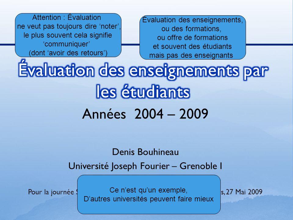 Années 2004 – 2009 Denis Bouhineau Université Joseph Fourier – Grenoble I Pour la journée Spécif sur lévaluation des enseignants-chercheurs, 27 Mai 20