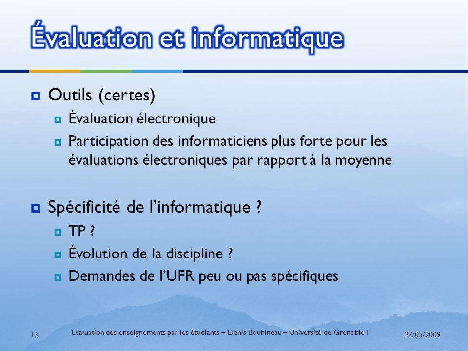 Outils (certes) Évaluation électronique Participation des informaticiens plus forte pour les évaluations électroniques par rapport à la moyenne Spécif