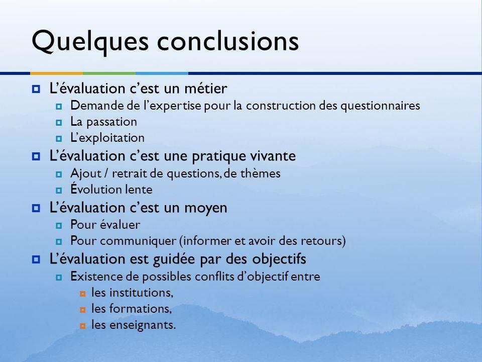 Quelques conclusions Lévaluation cest un métier Demande de lexpertise pour la construction des questionnaires La passation Lexploitation Lévaluation c