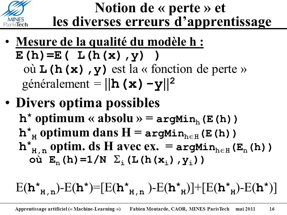 Apprentissage artificiel (« Machine-Learning ») Fabien Moutarde, CAOR, MINES ParisTech mai 2011 16 Notion de « perte » et les diverses erreurs dappren