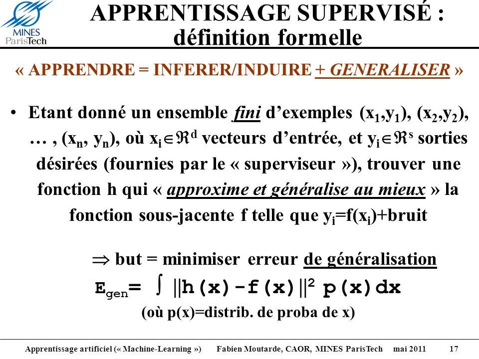 Apprentissage artificiel (« Machine-Learning ») Fabien Moutarde, CAOR, MINES ParisTech mai 2011 17 APPRENTISSAGE SUPERVISÉ : définition formelle « APP