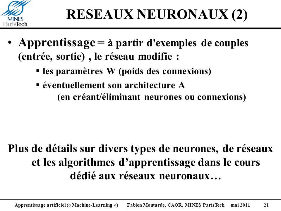 Apprentissage artificiel (« Machine-Learning ») Fabien Moutarde, CAOR, MINES ParisTech mai 2011 21 RESEAUX NEURONAUX (2) Apprentissage = à partir d'ex