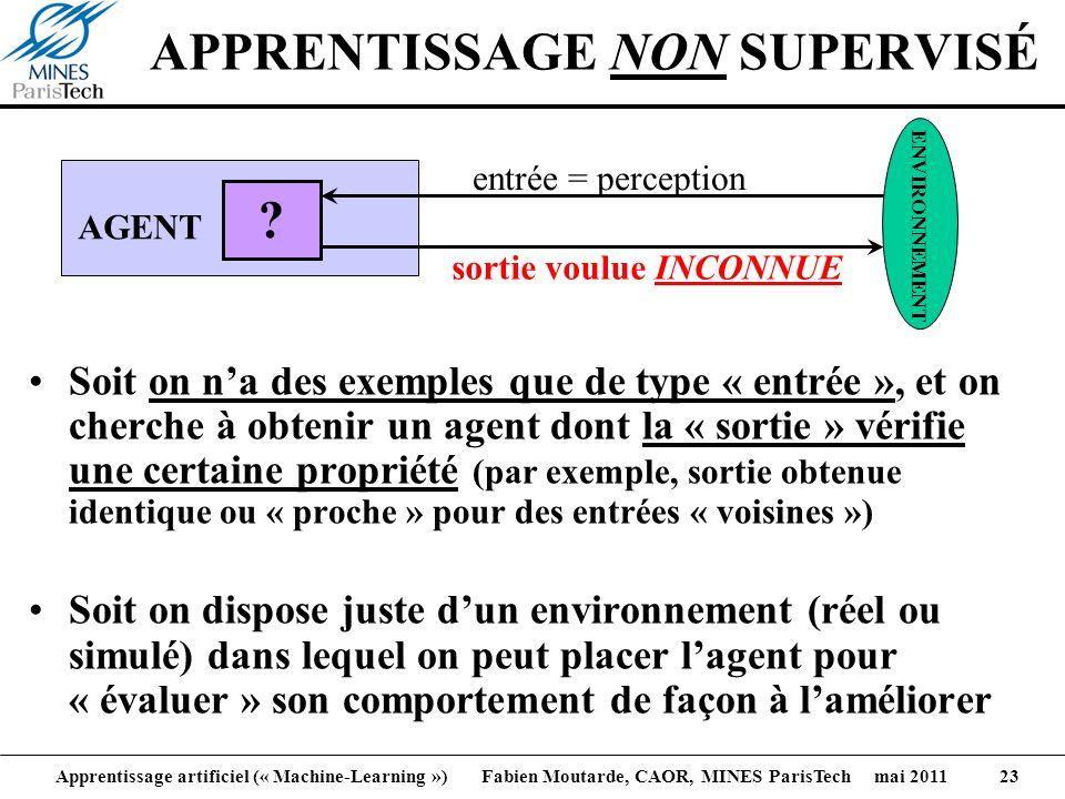 Apprentissage artificiel (« Machine-Learning ») Fabien Moutarde, CAOR, MINES ParisTech mai 2011 23 APPRENTISSAGE NON SUPERVISÉ Soit on na des exemples