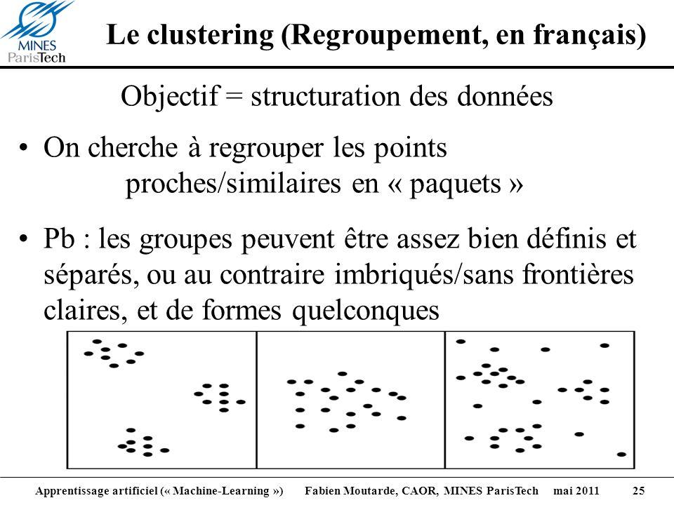 Apprentissage artificiel (« Machine-Learning ») Fabien Moutarde, CAOR, MINES ParisTech mai 2011 25 Le clustering (Regroupement, en français) Objectif