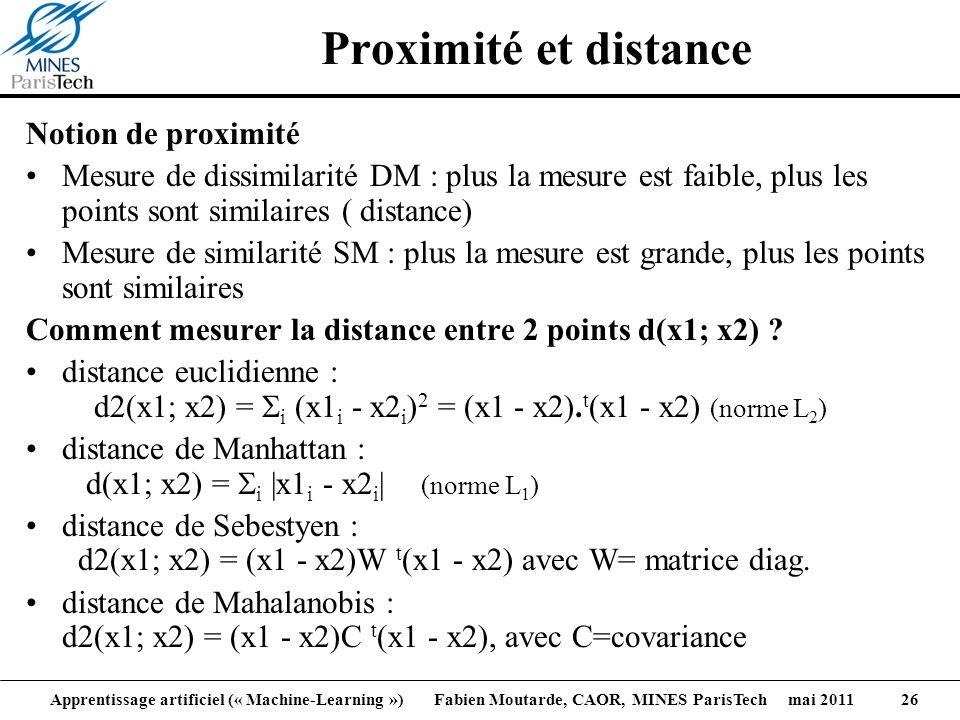 Apprentissage artificiel (« Machine-Learning ») Fabien Moutarde, CAOR, MINES ParisTech mai 2011 26 Proximité et distance Notion de proximité Mesure de