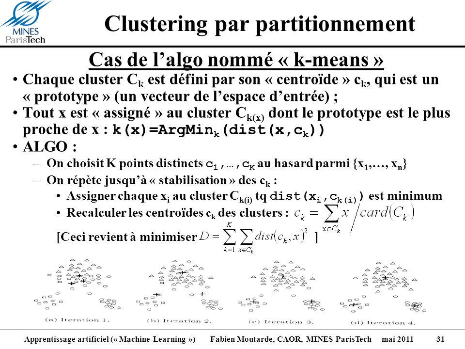 Apprentissage artificiel (« Machine-Learning ») Fabien Moutarde, CAOR, MINES ParisTech mai 2011 31 Clustering par partitionnement Cas de lalgo nommé «