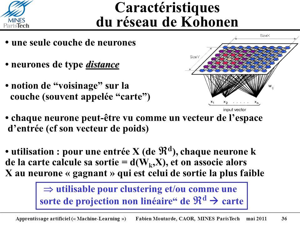 Apprentissage artificiel (« Machine-Learning ») Fabien Moutarde, CAOR, MINES ParisTech mai 2011 36 Caractéristiques du réseau de Kohonen une seule cou