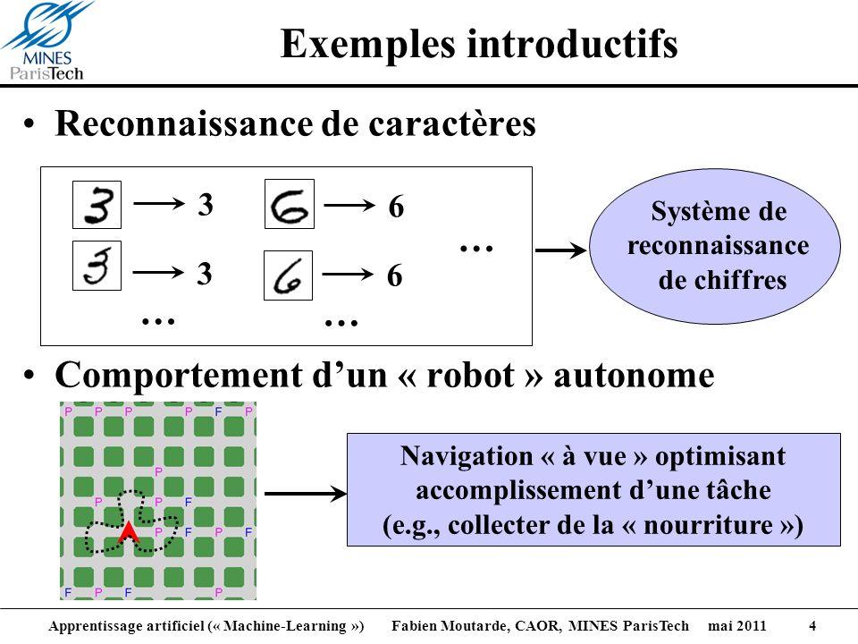 Apprentissage artificiel (« Machine-Learning ») Fabien Moutarde, CAOR, MINES ParisTech mai 2011 4 Reconnaissance de caractères Comportement dun « robo