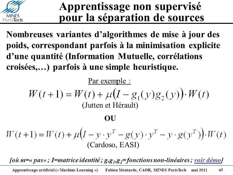 Apprentissage artificiel (« Machine-Learning ») Fabien Moutarde, CAOR, MINES ParisTech mai 2011 45 Apprentissage non supervisé pour la séparation de s