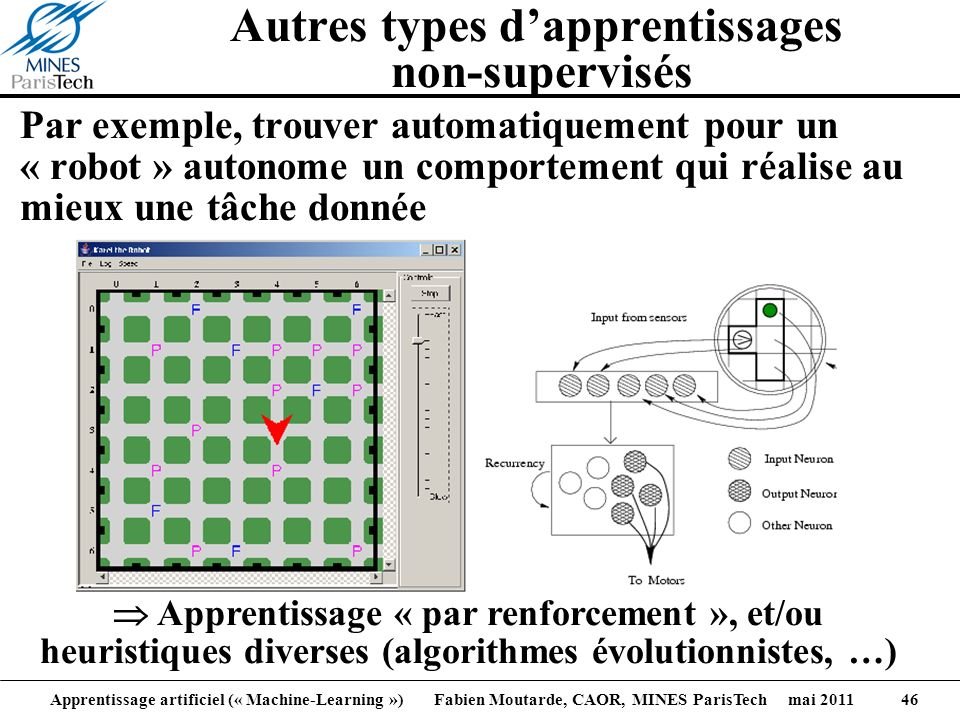 Apprentissage artificiel (« Machine-Learning ») Fabien Moutarde, CAOR, MINES ParisTech mai 2011 46 Autres types dapprentissages non-supervisés Par exe